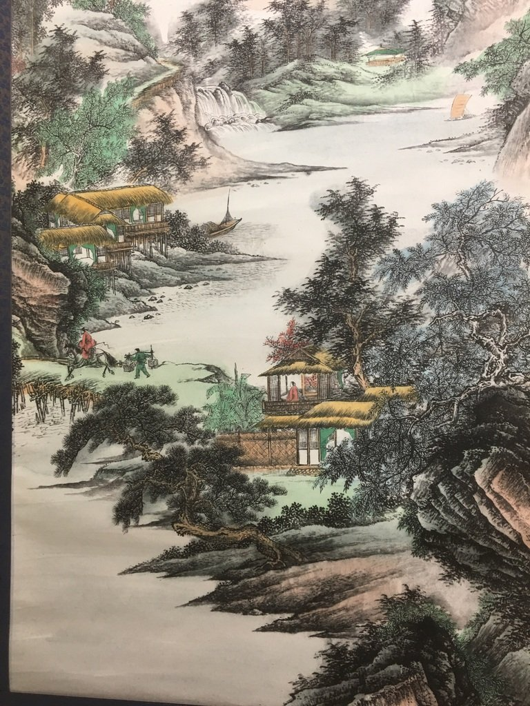 ANTIQUE Chinese Water color scroll painting with - 4