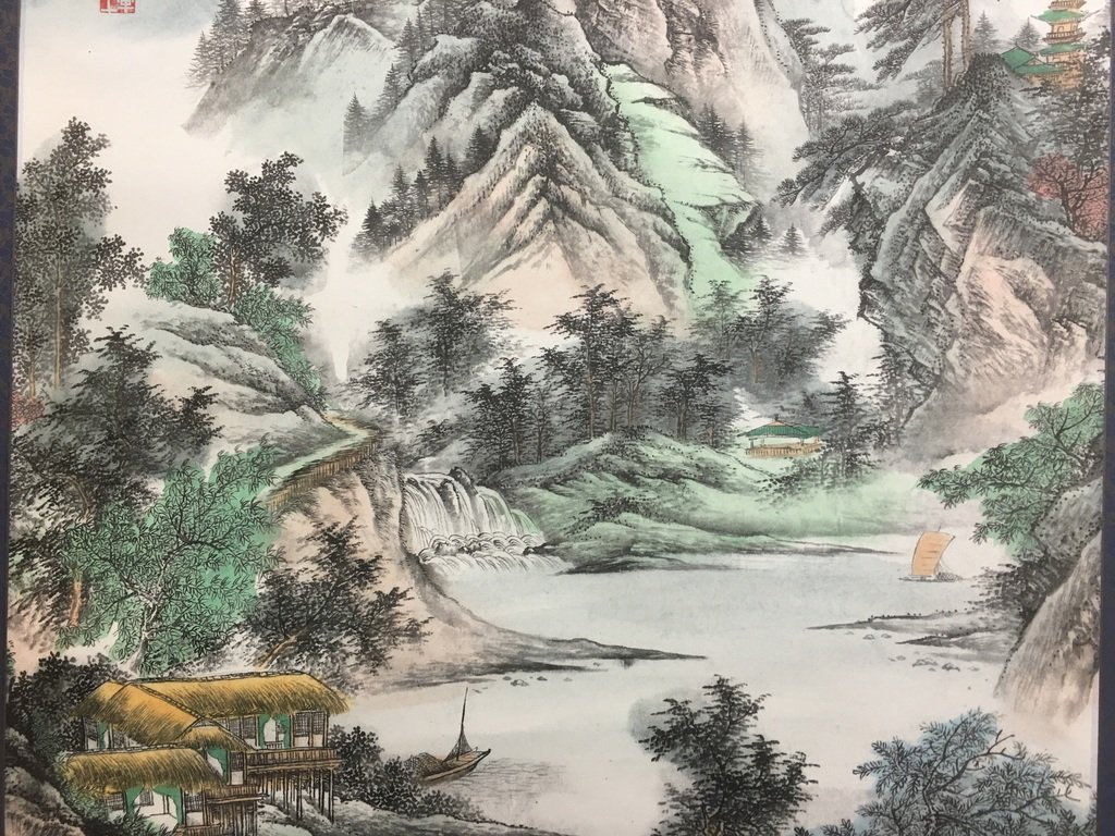 ANTIQUE Chinese Water color scroll painting with - 7
