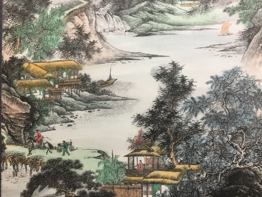ANTIQUE Chinese Water color scroll painting with - 8
