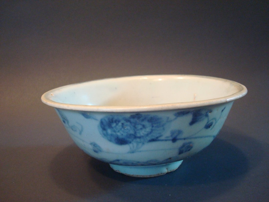 ANTIQUE Chinese Blue and White Bowl, Ming - 6