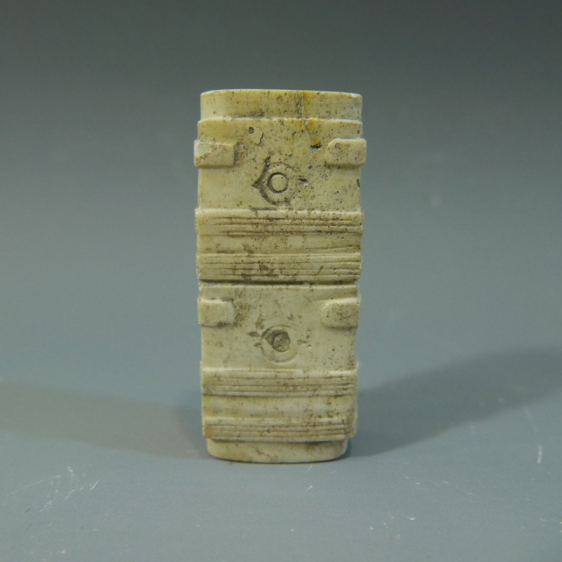 ANTIQUE CHINESE CARVED JADE CONG TUBE NEOLITHIC PERIOD