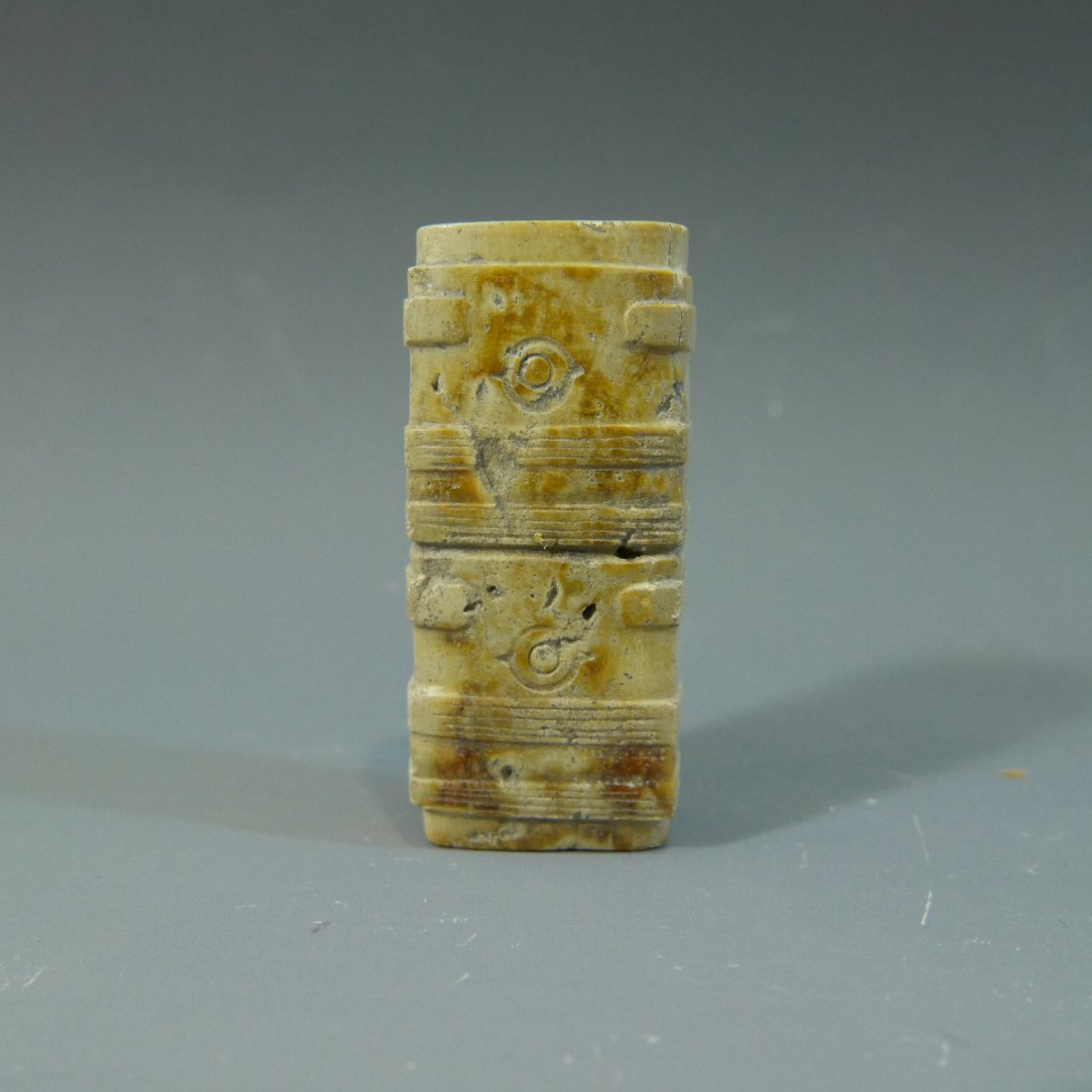 ANTIQUE CHINESE CARVED JADE CONG TUBE NEOLITHIC PERIOD - 2