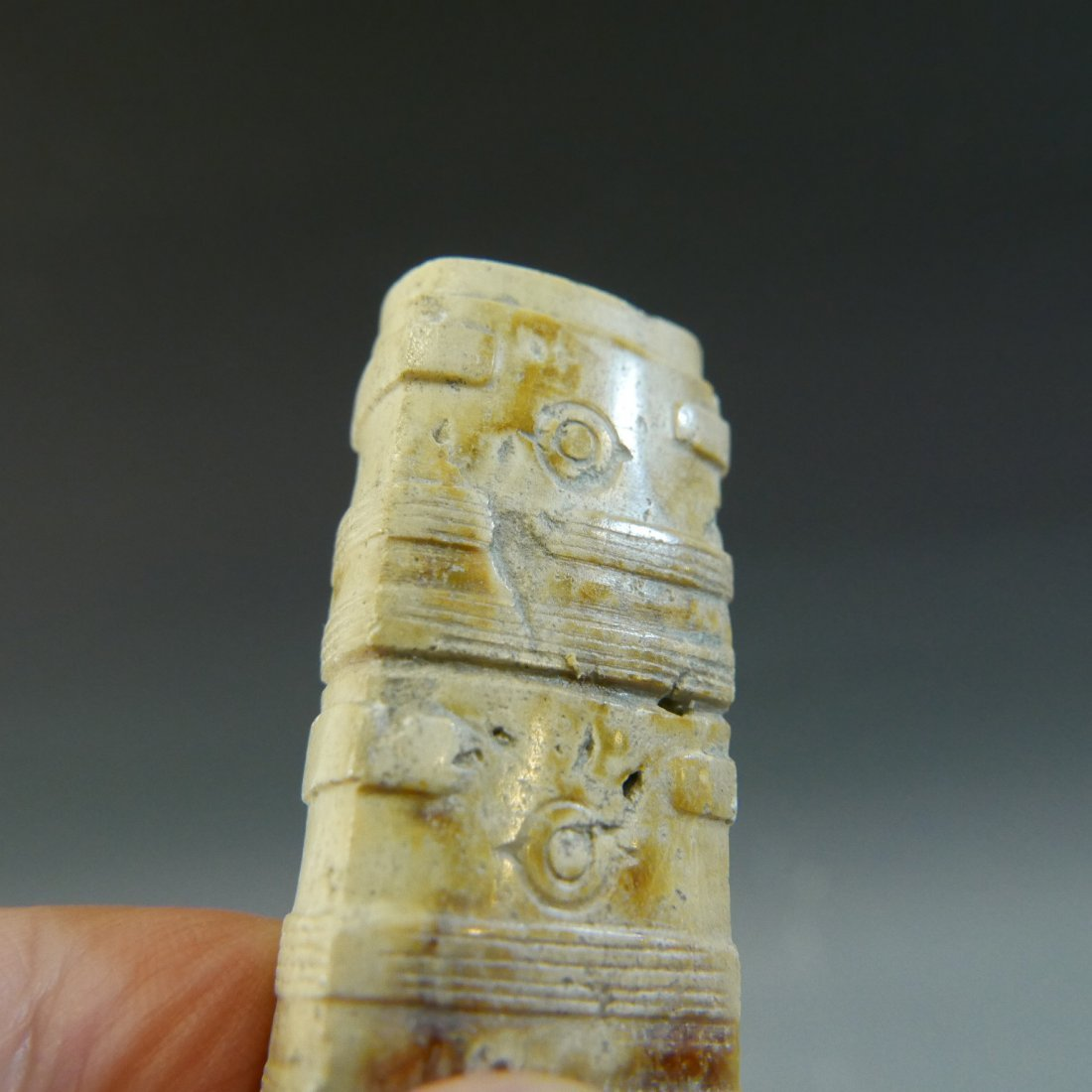 ANTIQUE CHINESE CARVED JADE CONG TUBE NEOLITHIC PERIOD - 7