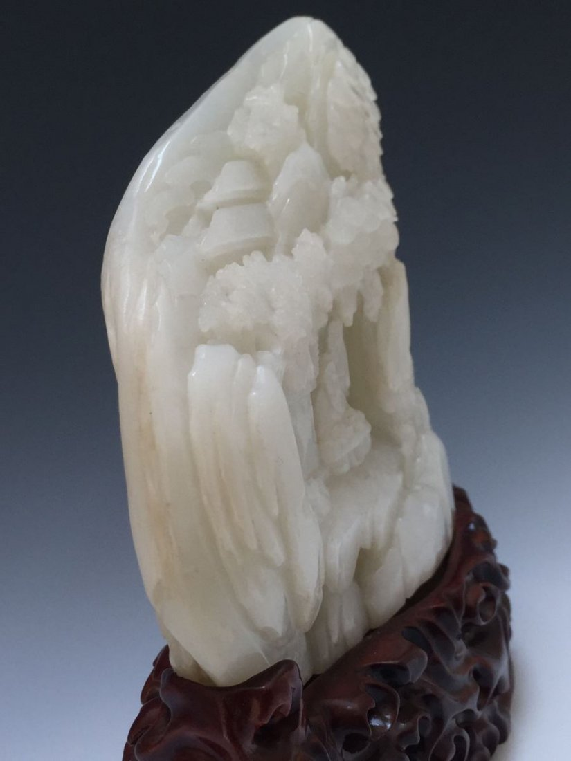 A VERY FINE LARGE CARVED HETIAN WHITE JADE SCHOLARS - 9