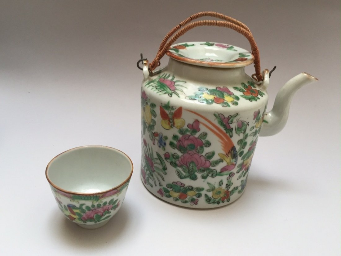 A CHINESE ANTIQUE ROSE MEDELLION TEAPOT AND CUP, 19TH - 4