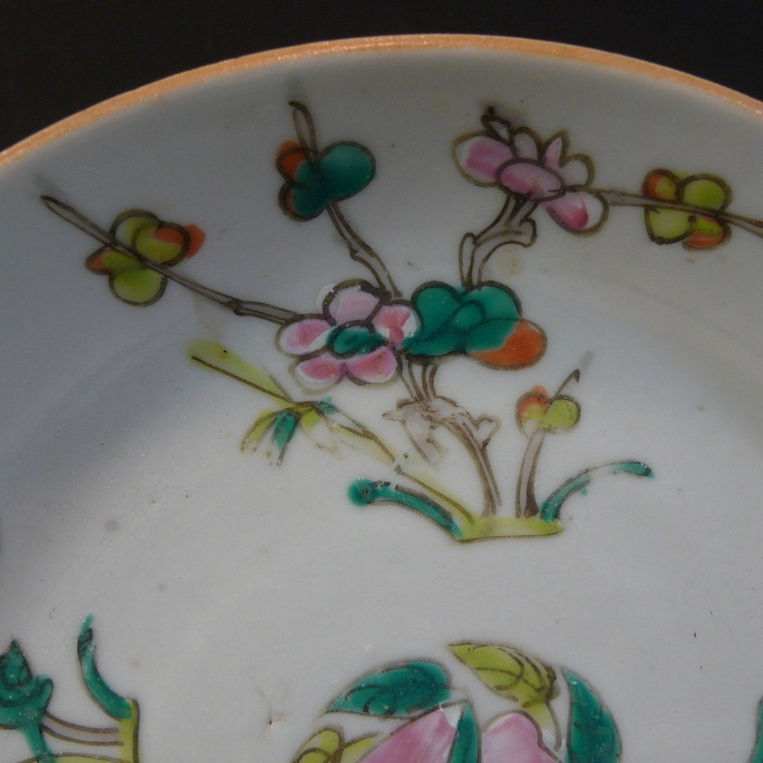 ANTIQUE CHINESE FAMILLE ROSE PORCELAIN PLATE - 19TH - 2