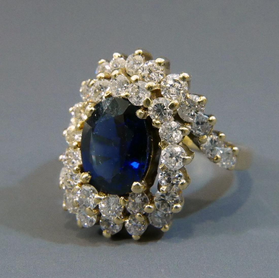 STUNNING 14K GOLD NATURAL SAPPHIRE & DIAMOND RING