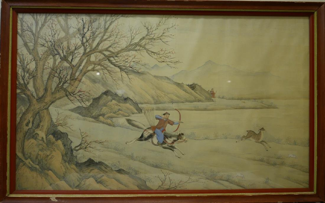 CHINESE WATERCOLOR PAINTING OF A HUNT SCENE, QING