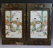 PAIR ANTIQUE CHINESE FAMILLE VERTE PORCELAIN PLAQUE -