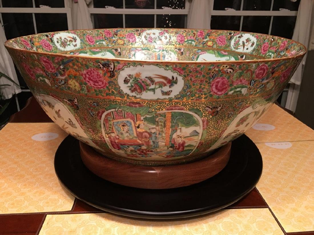 ANTIQUE Huge Chinese Rose Medallion Punch Bowl, early