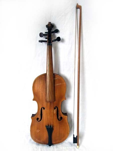 A violin & bow, the fiddle with pine soundboard, and th