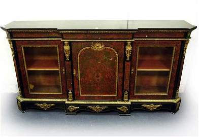 A large nineteenth century red tortoishell boulle crede