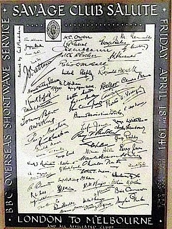 A 1941 wartime panel of signatures of the Savage Club f