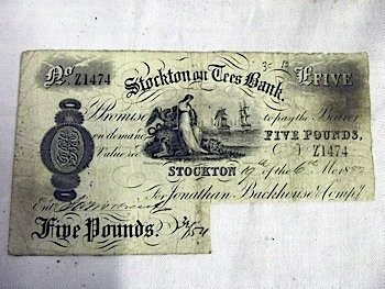 A five pound note from The Stockton-on-Tees Bank, dated