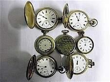 Seven rolled gold gilt metal or gold plated pocket wat