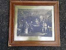 A hogarth style copper printing plate titled Marriage