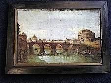Oil on canvas Venetian scene with gondolas on canal an