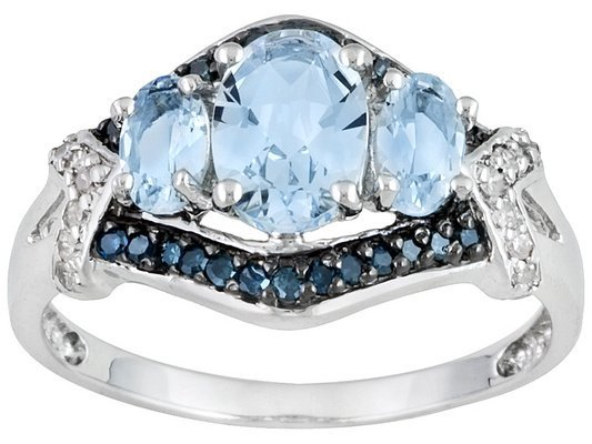 10k WG Aquamarine and Blue Diamond Ring