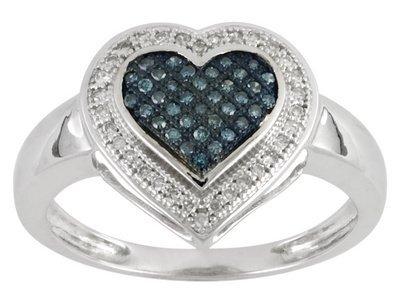 10k WG White and Blue Diamond Ring