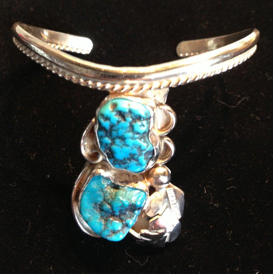 Vintage Signed Navajo Sterling & Turquiose Bracelet
