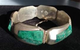 Vintage Heavy Taxco Malachite & Sterling Bracelet