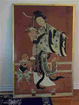 Japanese Oil on Wood Panel