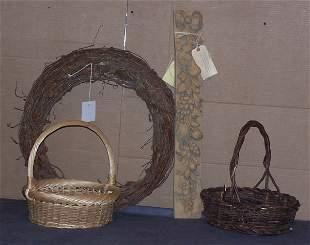 Wreath, Two Baskets and Della Robia Plaque
