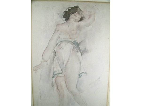 1002: Odilon Roche Signed Nude with White Robe