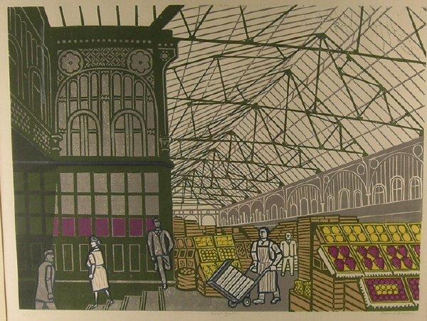 1007: Edward Bawden Covent Garden Lithograph 1967
