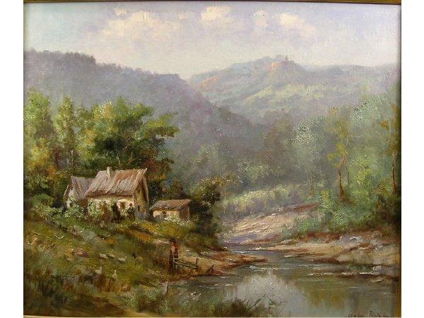 1008: Csabai Pantl European Cottage Oil Painting