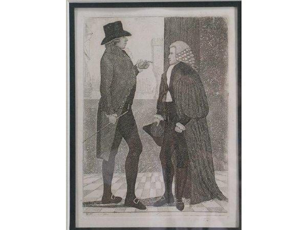 1013: John Kay 18th c Etching of Gentlemen