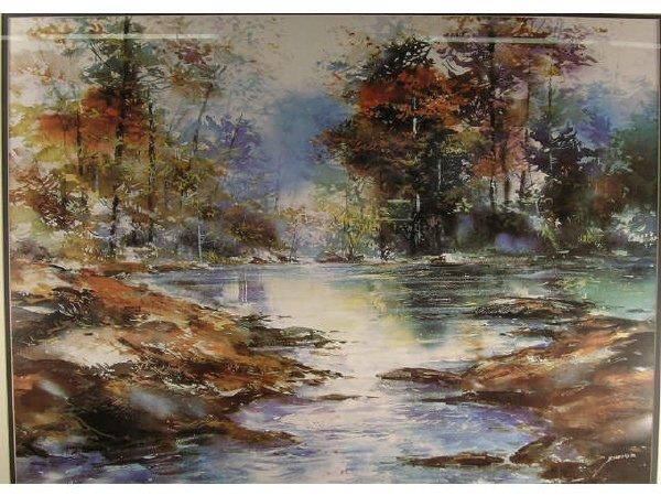 1014: Schofield Print Landscape Forest Stream