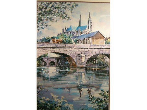 1017: Schoon Print Arched Bridge Framed