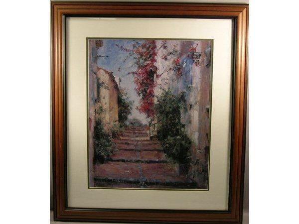 1018: Decorative Framed Print Steps Mediterranean