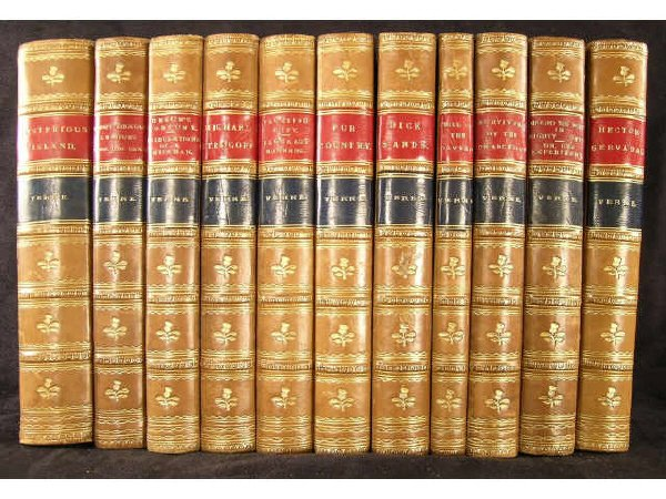 1167: Jules Verne Leather Bound Books 19th c