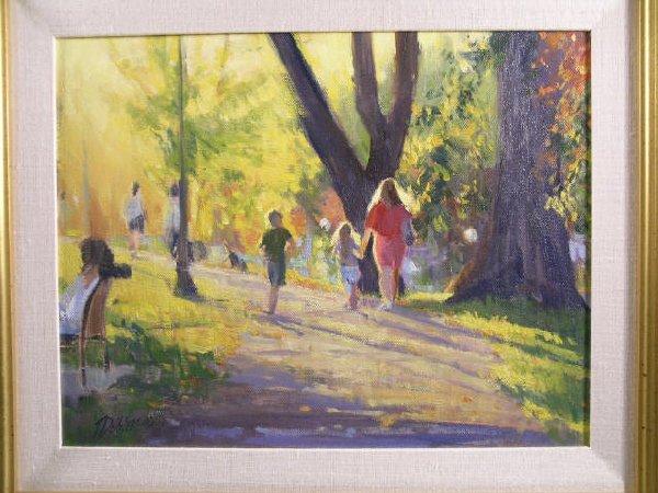 1182: Tim Deibler Oil Painting, Park Scene