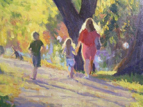 1182: Tim Deibler Oil Painting, Park Scene - 2