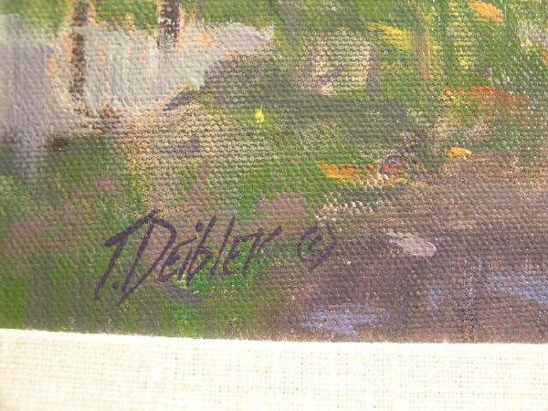 1182: Tim Deibler Oil Painting, Park Scene - 4