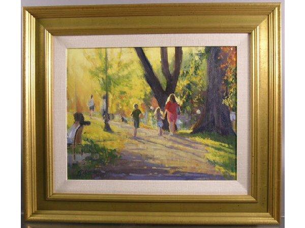 1182: Tim Deibler Oil Painting, Park Scene - 5