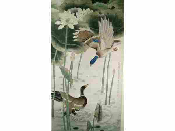 1252: Chinese Scroll Painting Signed Ducks