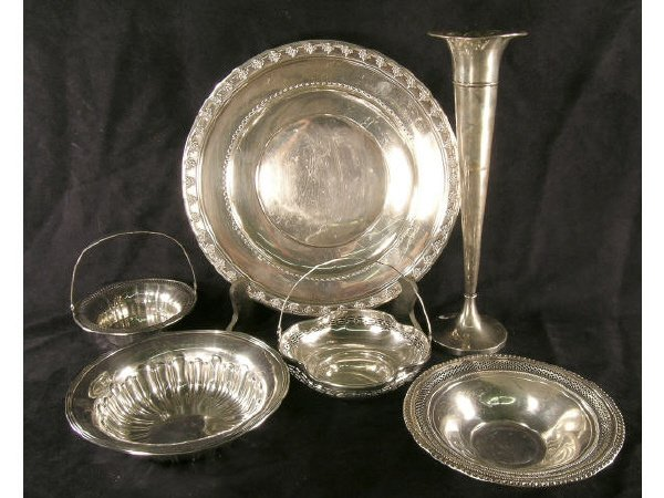 1019: Lot of Sterling Trumpet Vase and Nut Dishes