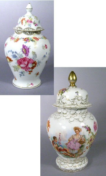 601: Two Porcelain Ginger Jars Dresden Style