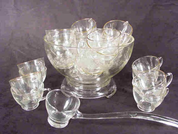607: Punch Bowl 24 Cups Clear Glass Gold Rim
