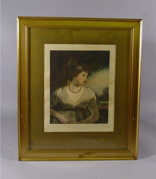 608: Framed Print Signed Miller Young Woman