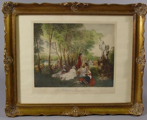 611: Framed Print of Watteau's Fete d'Amour