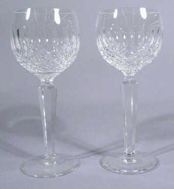 619: Pair Crystal Cut Glass Wine Glasses
