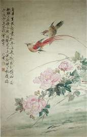 911: Chinese Scroll Painting Peonies Bird of Paradise