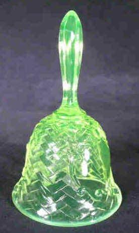 1201: Basket Weave Vaseline Glass Bell