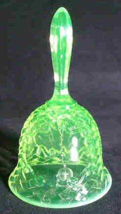 1201: Basket Weave Vaseline Glass Bell - 2