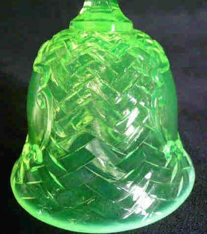 1201: Basket Weave Vaseline Glass Bell - 3